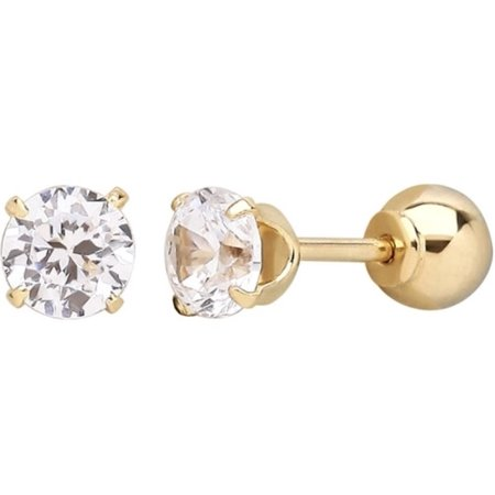 Solid 14k Gold Swarovski Elements Crystal and Ball Stud Reversible Earrings ()