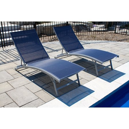 Clearwater 6 position Aluminum Lounger w/Wheel 2pc Set - Navy Steel ()
