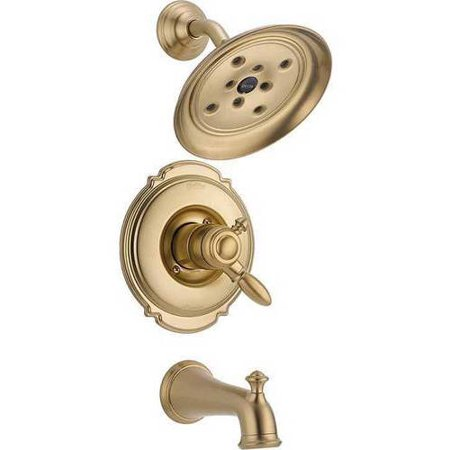 Delta Victorian Dual Function Pressure Balanced Bath and Shower Trim with H2Okinetic Shower Head and Integrated Volume Control Less Rough-in, Available in Various Colors
