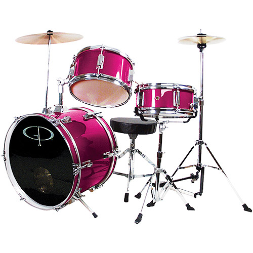 GP Percussion 3-Piece Complete Junior Drum Set, Metallic Pink