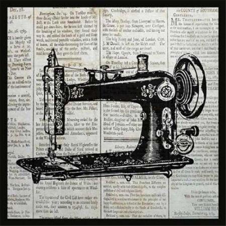 Bon Art PDXPB25970SMALL Vintage Sewing Machine Poster Print by Piper Ballantyne, 12 x 12 - Small - image 1 de 1