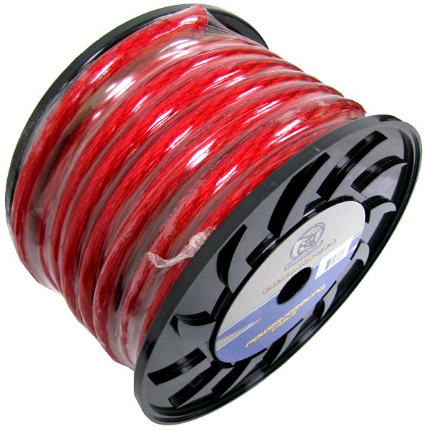 NEW BULLZ AUDIO 1/0 Gauge 50 FT Xtreme Twisted Pro Power Ground Wire Cable | Red