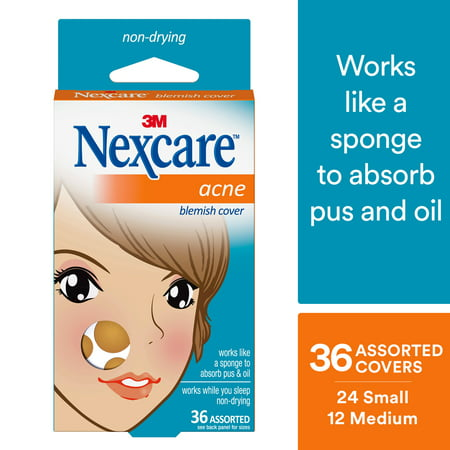 Nexcare Absorbing Acne Cover, Invisible, Non-Drying, 36 Count