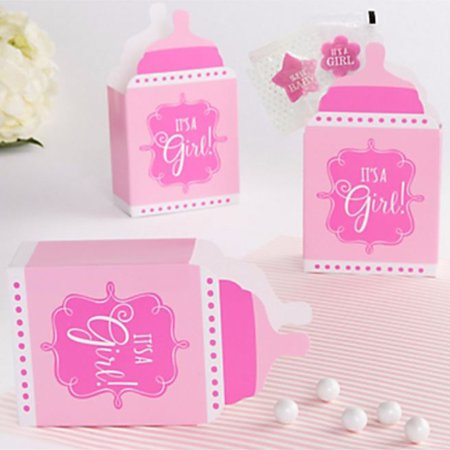 Baby Shower 'It's a Girl' Bottle Shaped Favor Boxes (24ct) - Baby Shower Bottle Favors
