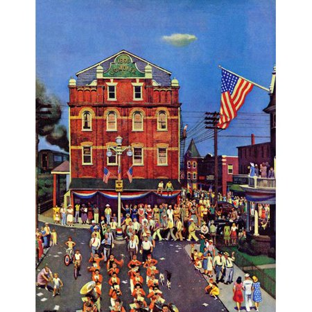 Marmont Hill Independence Parade by John Falter Painting Print on Wrapped Canvas (Forest Hills Halloween Parade)