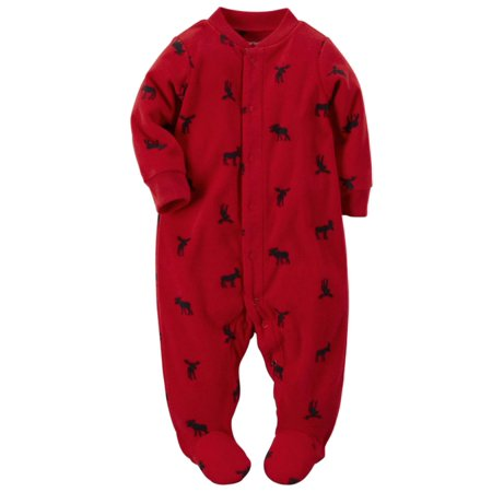 fc4f1dcd5 Carter s - Carters Infant Boys Red Moose Micro Fleece Footed Sleeper ...