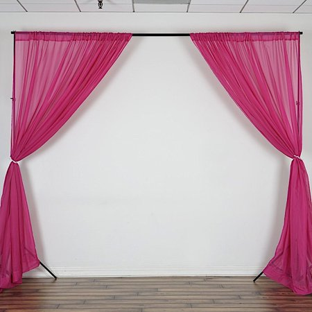 BalsaCircle 10 feet x 10 feet Sheer Voile Backdrop Drapes Curtains - Wedding Ceremony Party Home Decorations