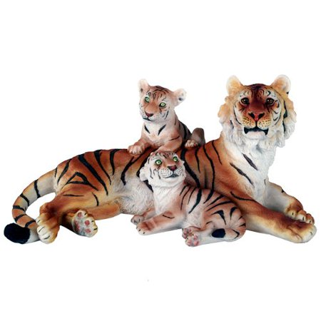 Wildlife Bengal Tiger With Cubs Big Cat 12.5 Inch Lifelike Collectible Figurine Statue Home Decor Gift
