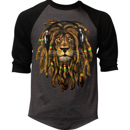 Men's Dreadlock Rasta Lion Headphones Black T-Shirt 2X-Large Black](Rasta Dreadlocks)