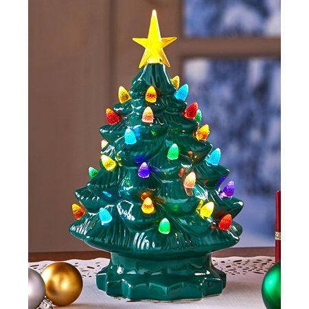 Large Retro Lighted Tabletop Christmas Tree Green