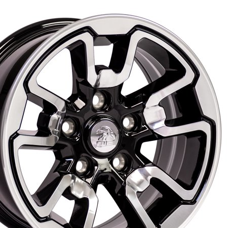 17 Inch Fits: Dodge, RAM - RAM 1500 Rebel Style DG55 Polished with Black Inlay 17x8 Rim Hollander 2614 - SET (24 Inch Rims Dodge Ram 1500)