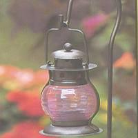 "Mintcraft GB-8132 Pink & Bronze Candle Lantern, 7-3/4""H x 3-1/4""W x 3-1/2""D"