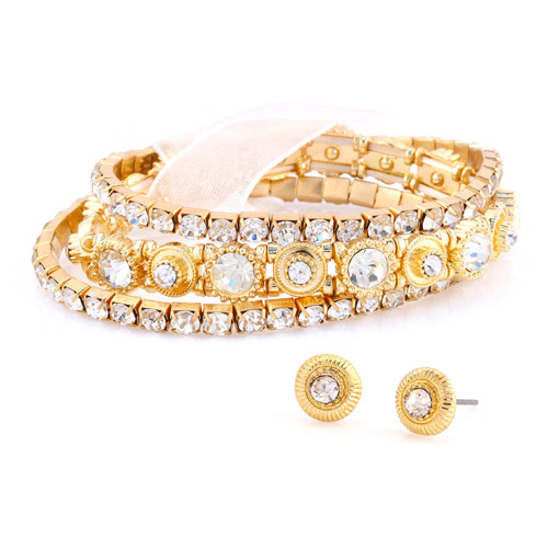 Gold-Tone Crystal Accent Bracelet and Earrings Set