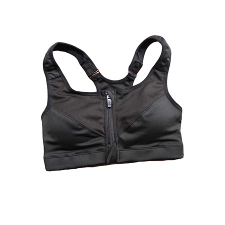 Womens Plus Size Athletic Stretch Quick Dry Zip Up Adjustable Strap Sports Bra Active