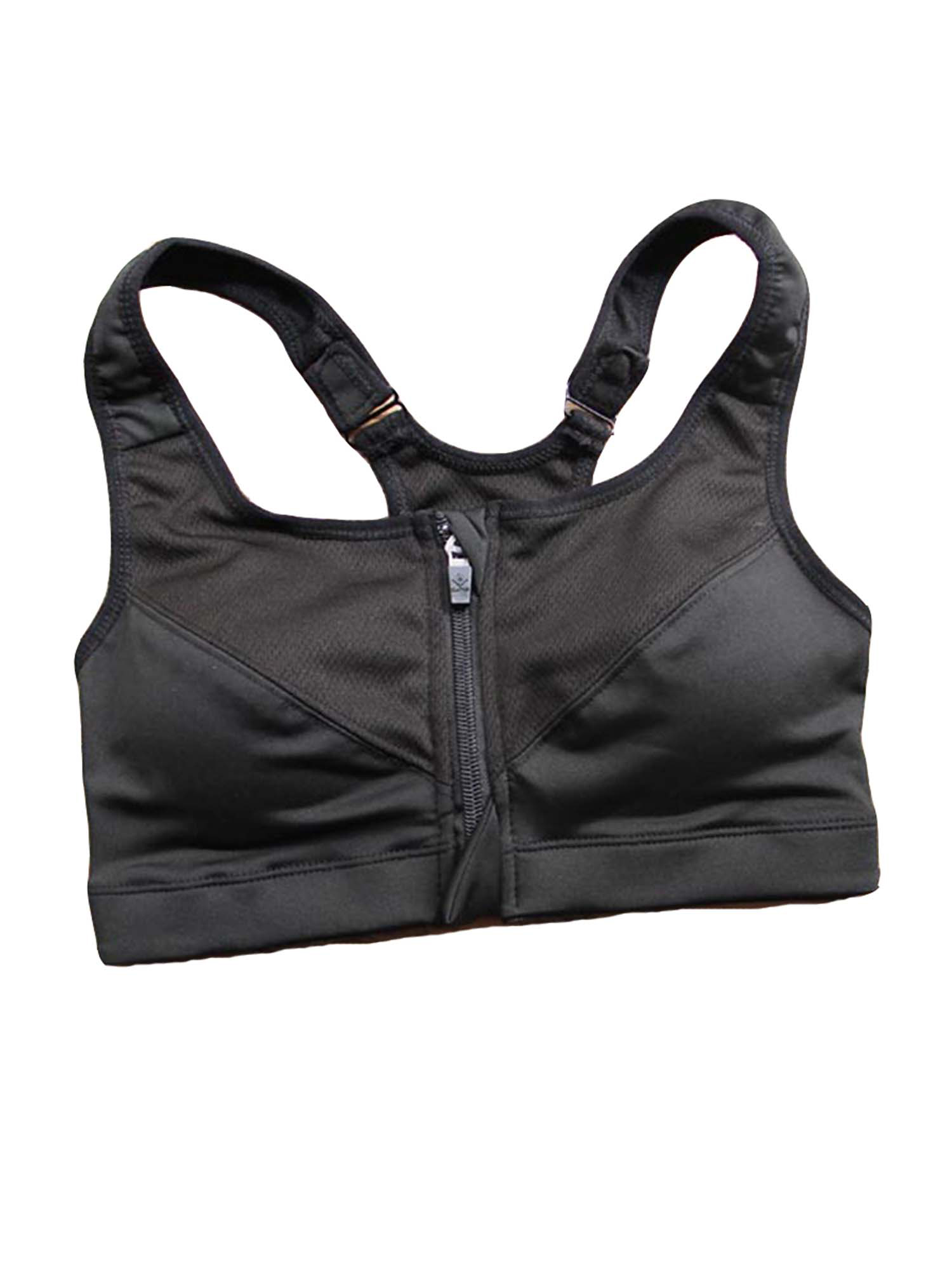 Womens Plus Size Athletic Stretch Quick Dry Zip Up Adjustable Strap Sports Bra Active Top