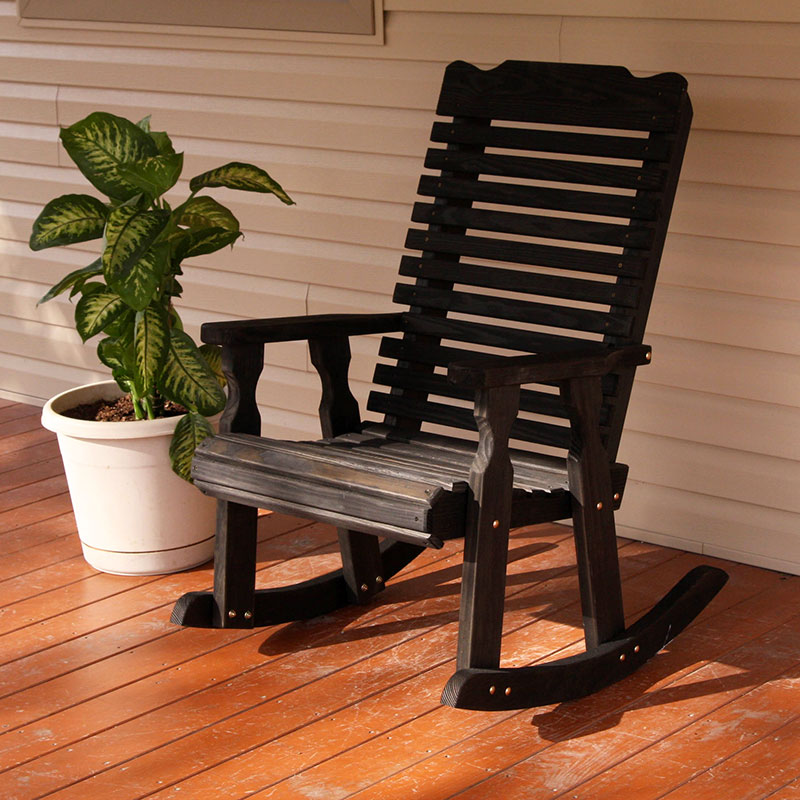 Amish Heavy Duty 600 Lb Classic Pressure Treated Rocking Chair (Semi-Solid Black Stain)