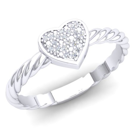 Heart Shaped Diamond Promise Rings (0.06 Carat (Ctw) Sterling Silver Round White Diamond Ladies Bridal Heart Shaped Rope Style Promise)