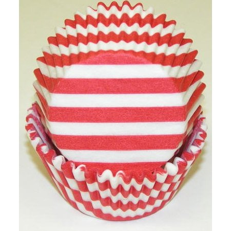 Red and White Stripe Cupcake Liners - Baking Cups -50pack](Striped Cupcake Liners)