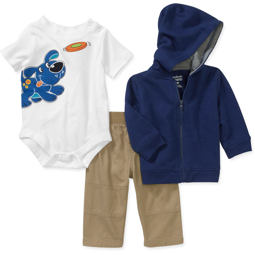 Garanimals Newborn Boys' 3-Piece Hoodie, Creeper and Pants Set