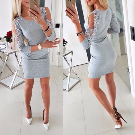 Women Bandage Cold Shoulder Bodycon Evening Party Club Cocktail Mini Dress Grey Size - Gray Cocktail