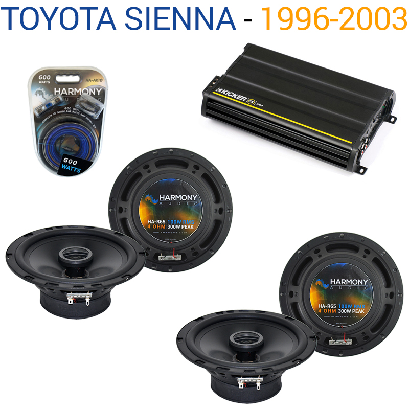 Toyota Sienna 1996-2003 Factory Speaker Upgrade Harmony (2) R65 & CX300.4 Amp - Factory Certified Refurbished