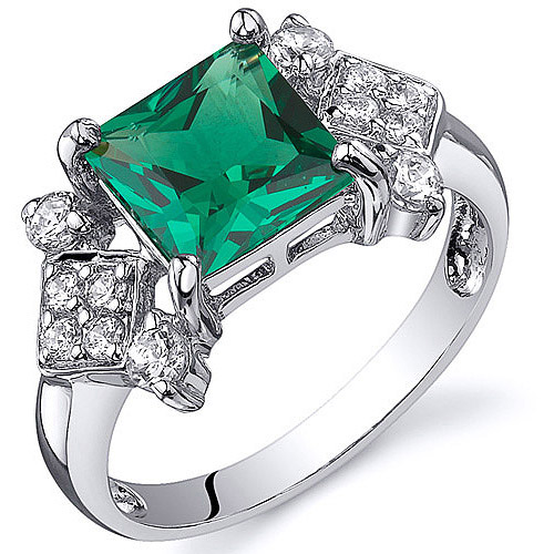 Oravo 1.50 Carat T.G.W. Princess-Cut Simulated Emerald Rhodium over Sterling Silver Ring