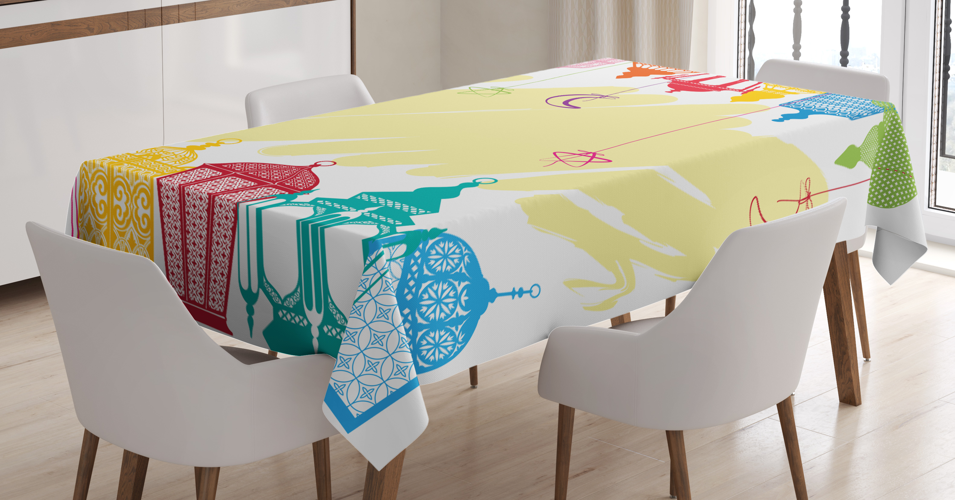 Lantern Tablecloth, Islamic Themed Celebration IMage Stars and Crescents... by Kozmos