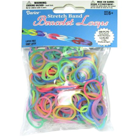 Darice Stretch Band Bracelet Loops Assorted Glow in The Dark Colors 300 Bands 12 Clasps