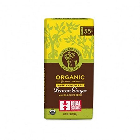 Equal Exchange - Organic & Fairly Traded Dark Chocolate Lemon Ginger with Black Pepper 55% Cacao - 2.8 oz.