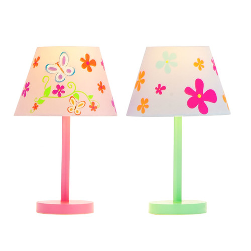 Woodland Imports 2 Piece Butterfly and Flower 16'' H Table Lamp Set with Empire Shade