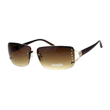 Womens Rhinestone Rimless Narrow Rectangle Luxury Designer Sunglasses Gold (Rectangle Sunglasses)