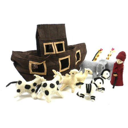 Silk Road Bazaar SRNK07-900110 Handmade & Fair Trade Felt Noahs Ark