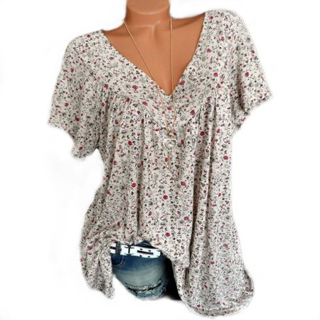 - Summer T-shirts For Womens Vintage Casual Floral Print V Neck Short Sleeve Loose Plus Size Ladies Tops Shirt Blouses