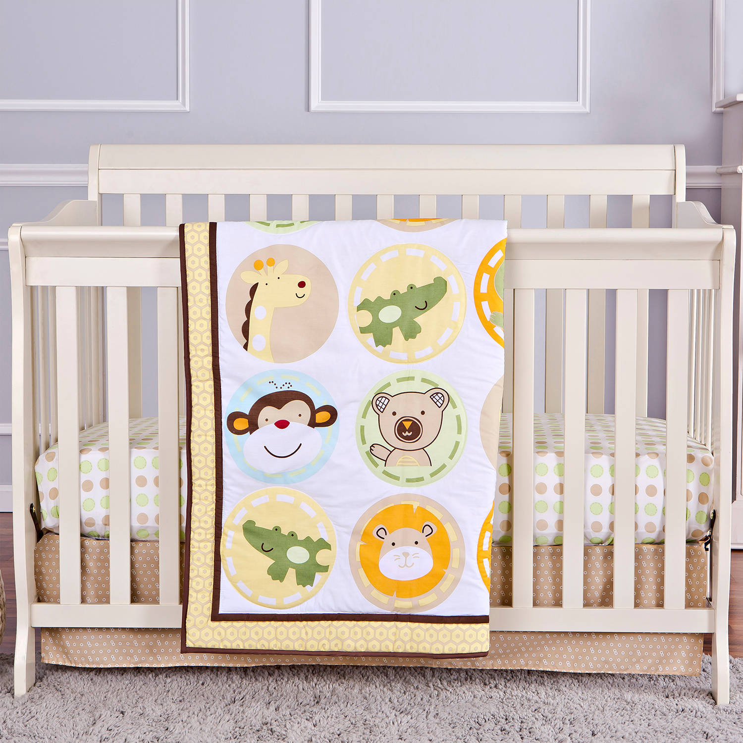 Dream On Me Animal Kingdom 4-Piece Reversible Full-Size Crib Bedding Set