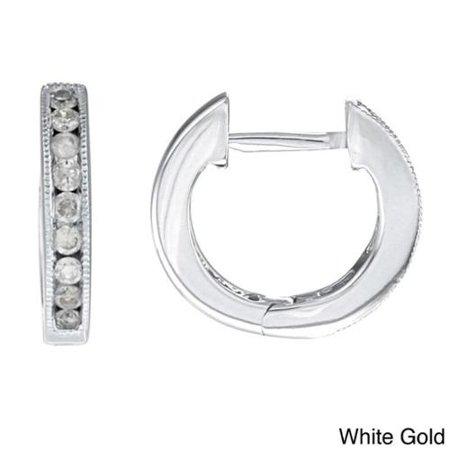 Auriya  10K White Gold 1 4Ct Tdw 12Mm Diamond Hoop Earrings  J K  I2 I3