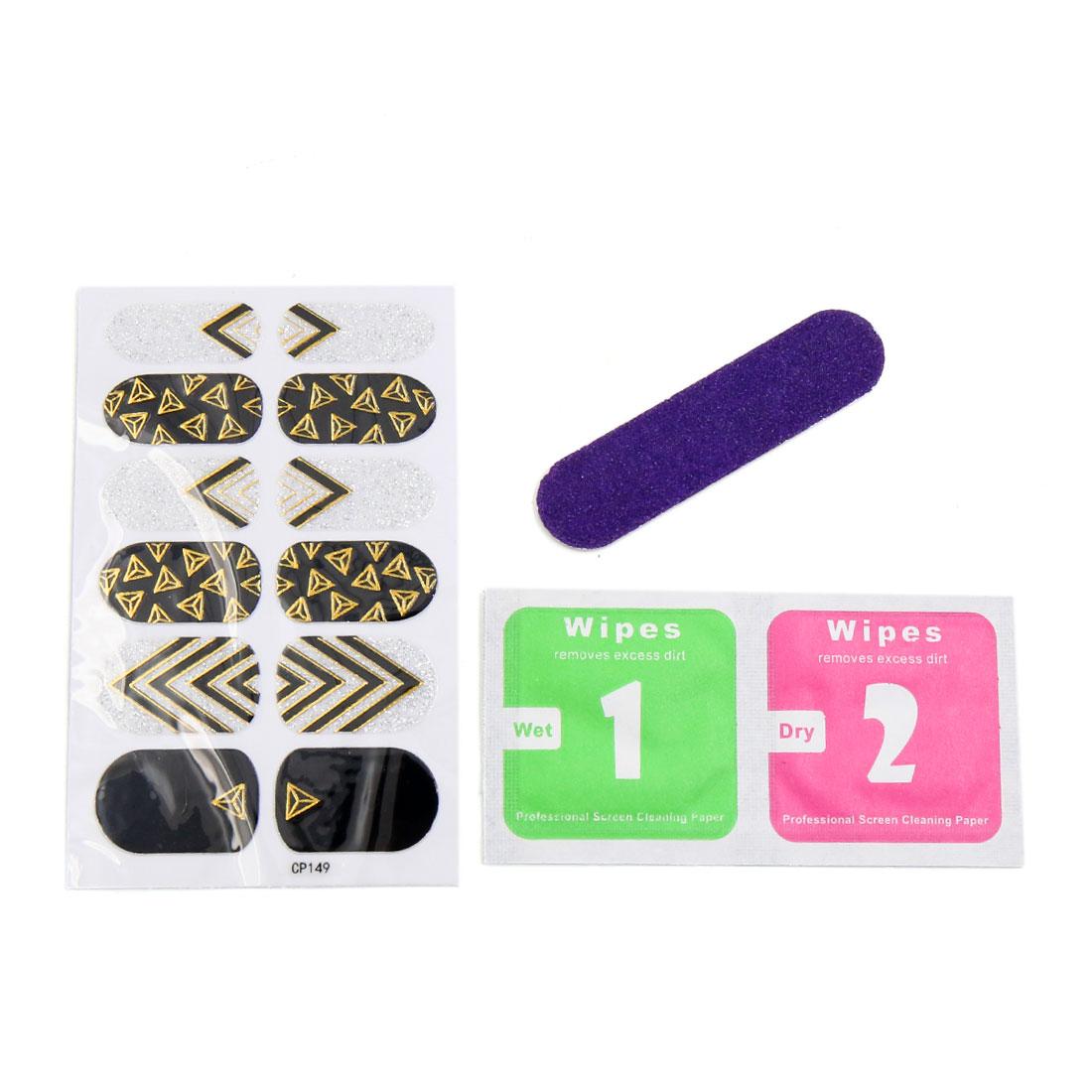 5 Sets Black Gold Tone Shiny Full Nail Art Stickers DIY Tips Decor