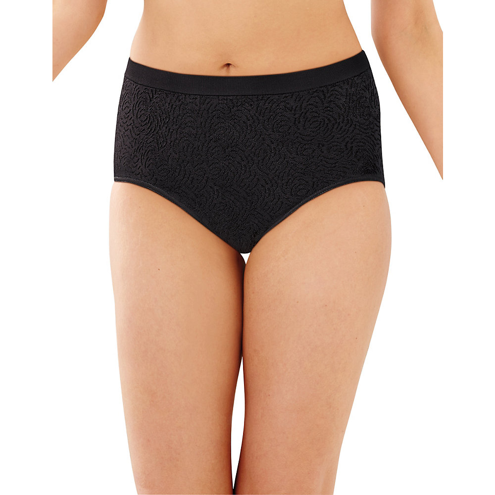 Bali Womens Comfort Revolution Seamless Brief Panty 9-Aug Black Damask