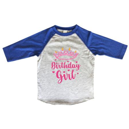 Girls Birthday Raglan 3 4 Sleeves Girl Tiara Toddler Youth Baseball Tee 2T Blue