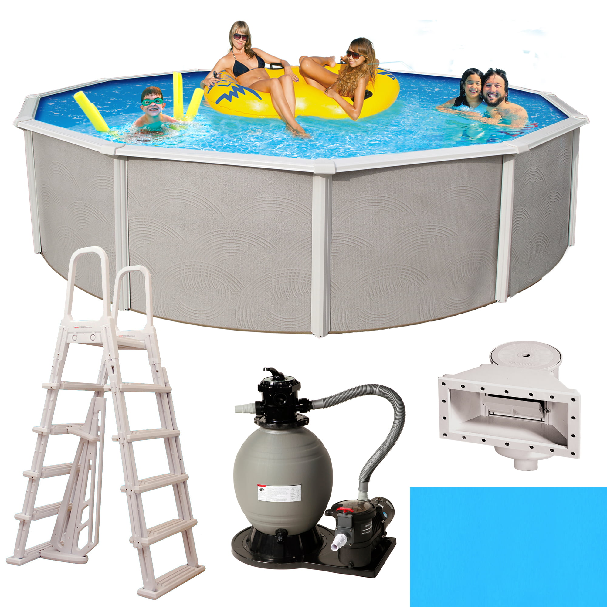 Blue Wave Belize 15-ft Round 48-in Deep 6-in Top Rail Metal Wall Swimming Pool Package by Blue Wave