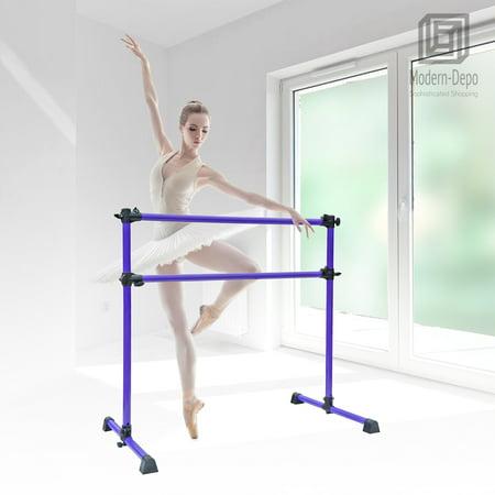 Adjustable 4 FT Stretch/Dance Barre, Fitness Ballet Bar for Kids -White/Purple
