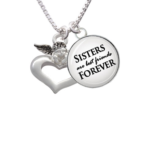 "Guardian Angel over Heart Sisters are Best Friends Forever Glass Dome Necklace, 18""+2"""