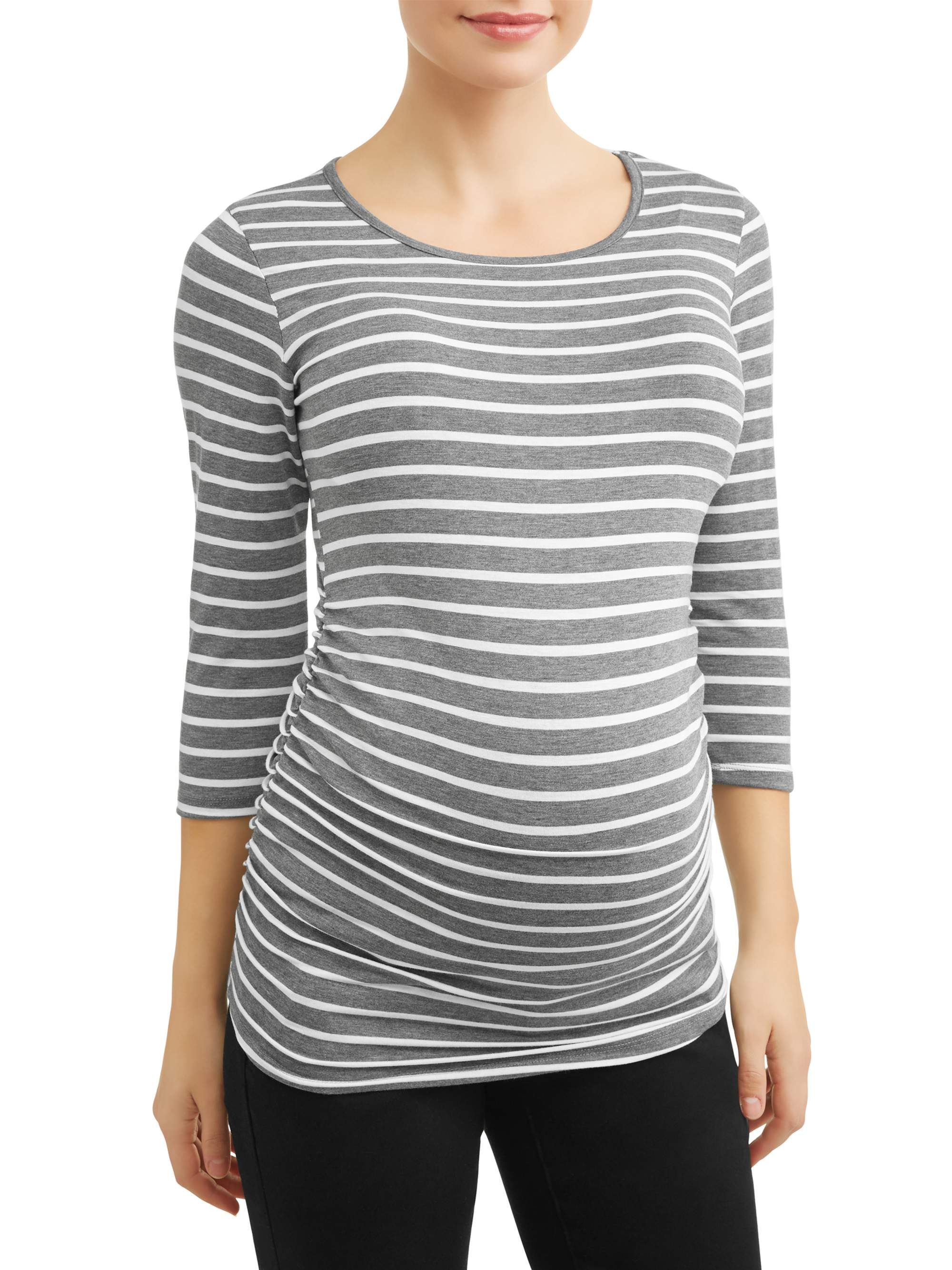 Maternity 3/4 Sleeve T-Shirt with Side Ruch