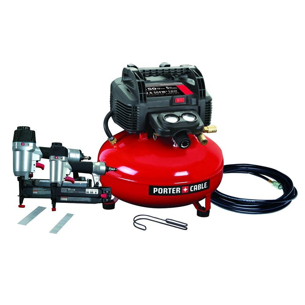 Porter-Cable PCFP12656 2 Tool Finish + Brad Nailer Compressor Combo Kit