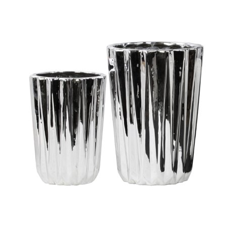 tapered round flower vase set of two silver benzara. Black Bedroom Furniture Sets. Home Design Ideas