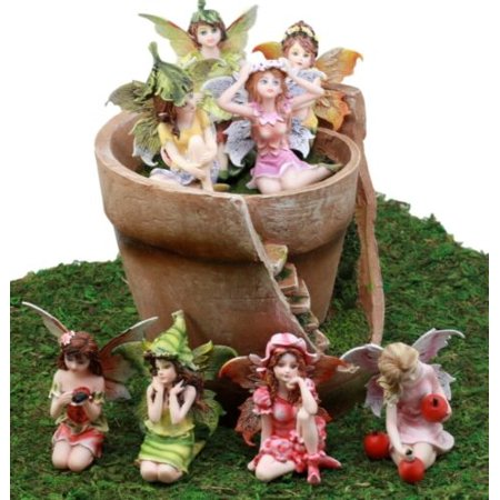 Ebros Gift Enchanted Fairy Garden Miniatures Starter Kit Broken Flower Planter Pot Cottage House with Eight Mini Fairies Figurine Set Do It Yourself Ideas for Your Home ()