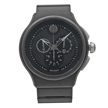 Pre-Owned Movado Parlee Carbon Fiber Sticks Dial Titanium Peek Quartz Mens Watch 0606929