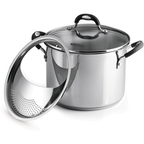 Tramontina 3-Piece 6-Quart Stainless Steel Lock-N-Drain Covered Stockpot