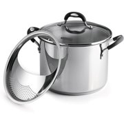 Tramontina Lock-N-Drain Stainless Steel 6 Quart Covered Stock Pot, 3 Count