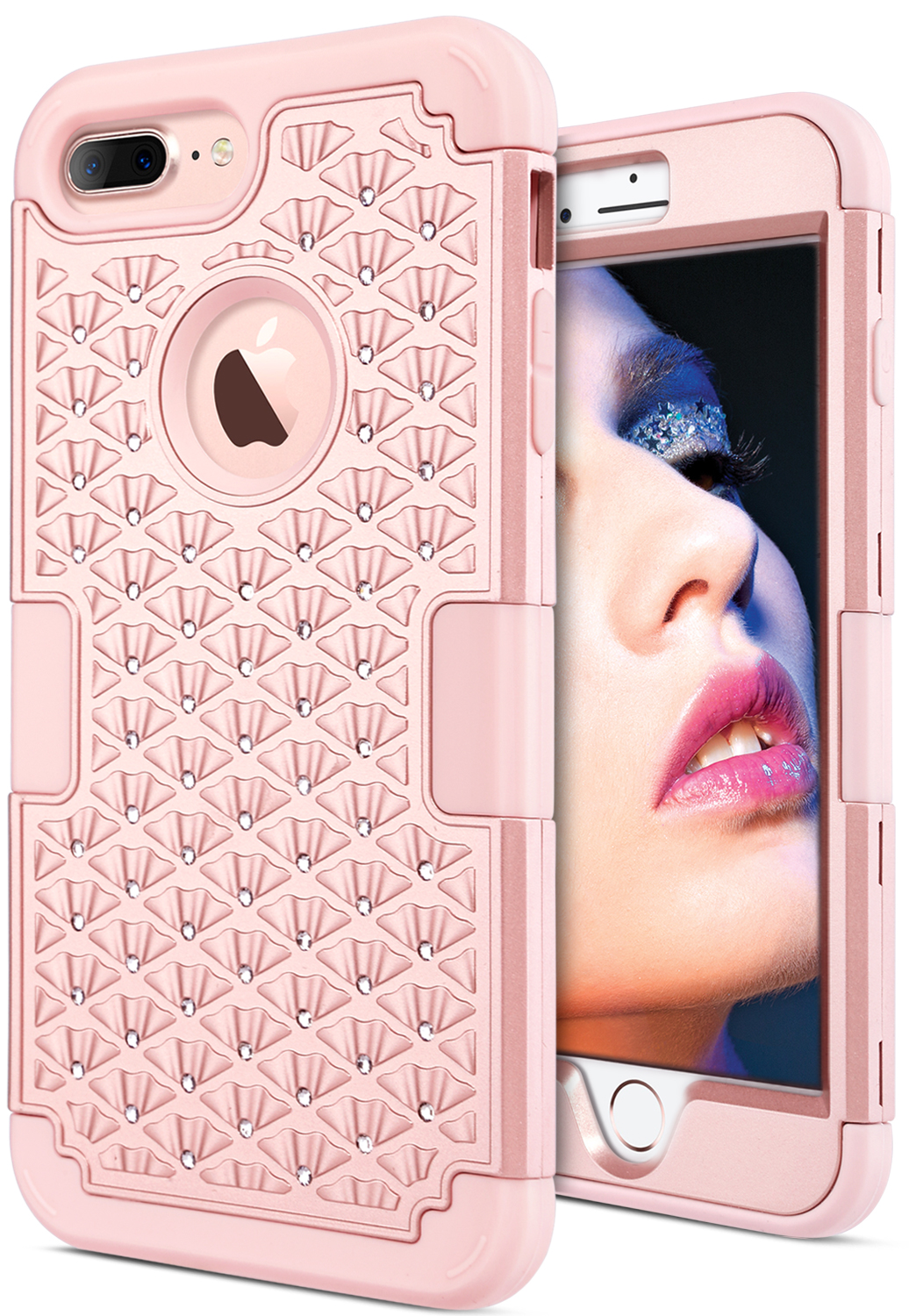 ULAK Hybrid Shock,Absorption Case for iPhone 7 Plus, Bling, Rose Gold