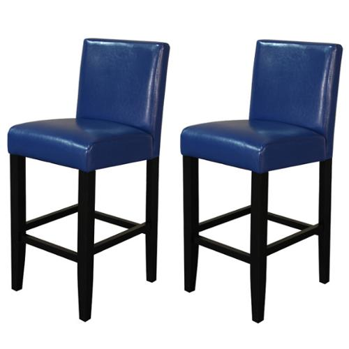 Monsoon Villa Faux Leather Blue Counter Stools (Set of 2)